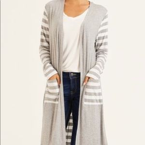 Heather Gray/white striped contrast long cardigan
